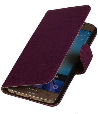 Echt Leer Bookcase Paars - Hoesje voor Samsung Galaxy A7 2015