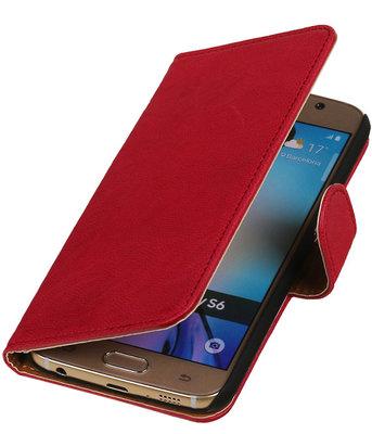 Echt Leer Bookcase Roze - Hoesje voor Samsung Galaxy A7 2015