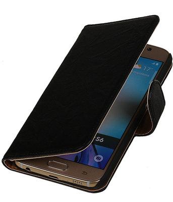 Echt Leer Bookcase Zwart - Hoesje voor Samsung Galaxy A7 2015
