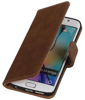Hout Bruin Hoesje voor Samsung Galaxy S6 Edge Book Wallet Case