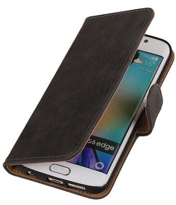 Hout Grijs Hoesje voor Samsung Galaxy S6 Edge Book Wallet Case