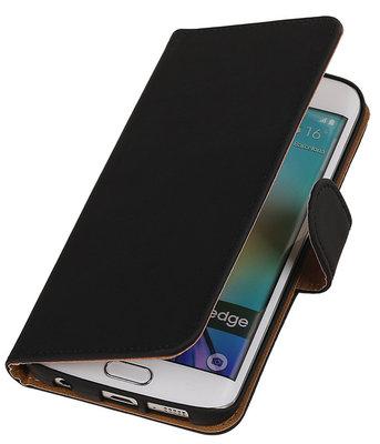 Hoesje voor Samsung Galaxy S6 Edge Effen Booktype Wallet Zwart