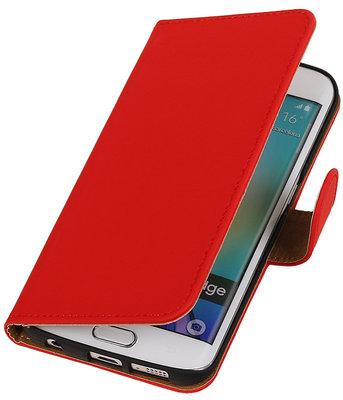 Hoesje voor Samsung Galaxy S6 Edge Effen Booktype Wallet Rood
