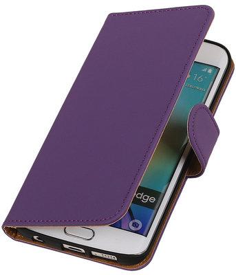 Hoesje voor Samsung Galaxy S6 Edge Effen Booktype Wallet Paars