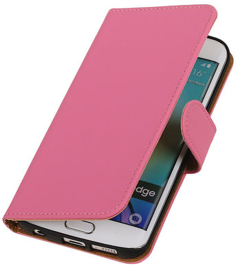 Hoesje voor Samsung Galaxy S6 Edge Effen Booktype Wallet Roze