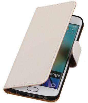 Hoesje voor Samsung Galaxy S6 Edge Effen Booktype Wallet Wit