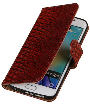 Slang Rood Hoesje voor Samsung Galaxy S6 Edge Book Wallet Case