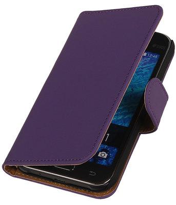Samsung Galaxy J1 2015 Effen Booktype Wallet Hoesje Paars