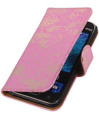 Roze Lace / Kant Design Bookcover Hoesje voor Samsung Galaxy J1 2015