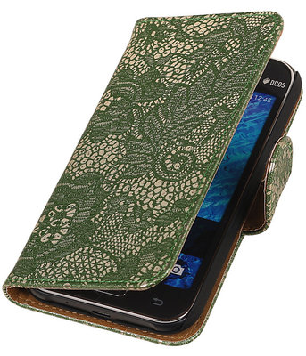 Donker Groen Lace / Kant Design Bookcover Hoesje voor Samsung Galaxy J1 2015