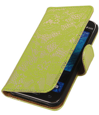 Groen Lace / Kant Design Bookcover Hoesje Samsung Galaxy J1 2015