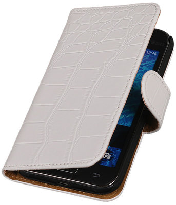Hoesje voor Samsung Galaxy J1 2015 Crocodile Booktype Wallet Wit
