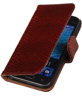 Rood Slangen / Snake Design Book Cover Hoesje Samsung Galaxy J1 2015