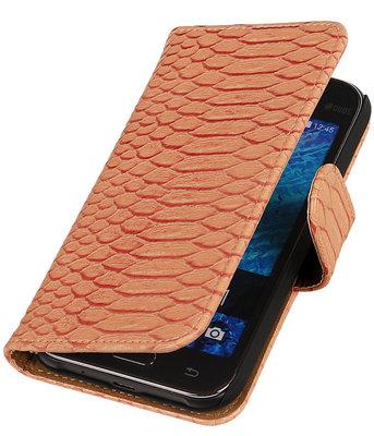 Roze Slangen / Snake Design Book Cover Hoesje Samsung Galaxy J1 2015