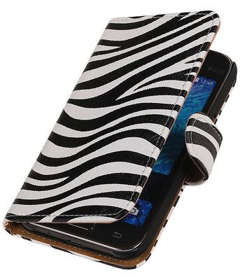 Samsung Galaxy J1 2015 Zebra Booktype Wallet Hoesje