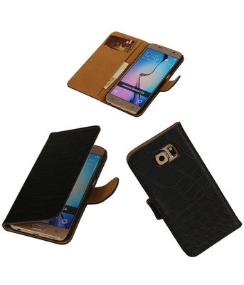 Hoesje voor Samsung Galaxy Grand Max Croco Booktype Wallet Zwart