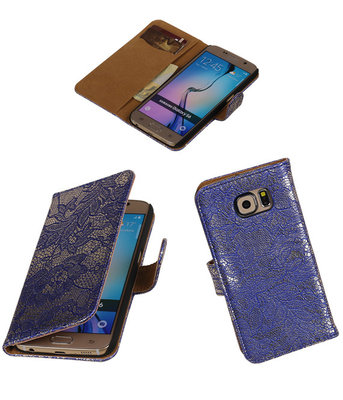 Hoesje voor Samsung Galaxy Grand Max Lace Booktype Wallet Blauw