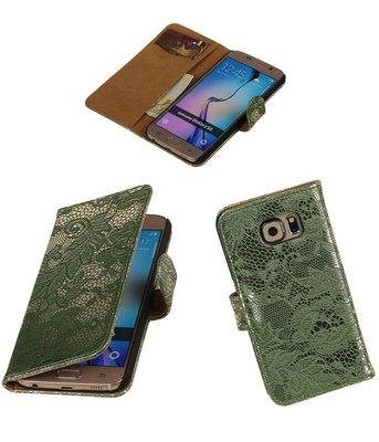 Hoesje voor Samsung Galaxy Grand Max Lace Booktype Wallet Donker Groen