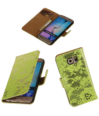 Hoesje voor Samsung Galaxy Grand Max Lace Booktype Wallet Groen