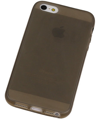 Apple iPhone 5 /5S TPU Hoesje Transparant Grijs – Back Case Bumper Hoes Cover