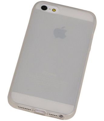 Apple iPhone 5 /5S TPU Hoesje Transparant Wit – Back Case Bumper Hoes Cover