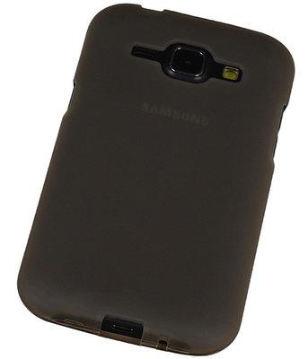 Samsung Galaxy J1 2015 TPU Hoesje Transparant Grijs – Back Case Bumper Hoes Cover