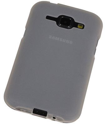 Samsung Galaxy J1 2015 TPU Hoesje Transparant Wit – Back Case Bumper