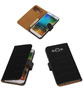 Zwart Krokodil Bookcover Hoesje voor Samsung Galaxy E7