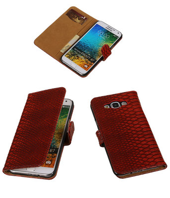 Rood Slang/Snake Bookcover Hoesje voor Samsung Galaxy E7