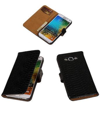Zwart Slang/Snake Bookcover Hoesje voor Samsung Galaxy E7