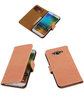 Licht Roze Slang/Snake Bookcover Hoesje voor Samsung Galaxy E7
