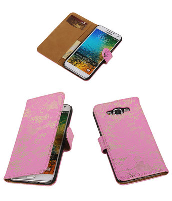 Roze Lace / Kant Design Bookcover Hoesje voor Samsung Galaxy E5