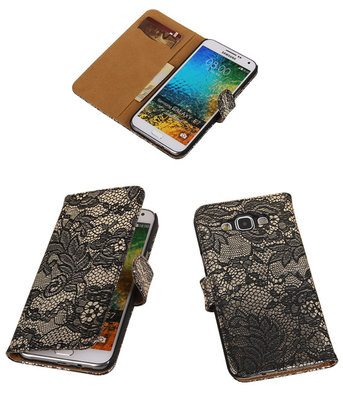 Zwart Lace / Kant Design Bookcover Hoesje voor Samsung Galaxy E5