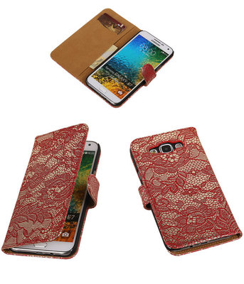 Rood Lace / Kant Design Bookcover Hoesje voor Samsung Galaxy E5
