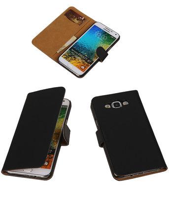 Zwart Effen Bookcover Hoesje voor Samsung Galaxy E5