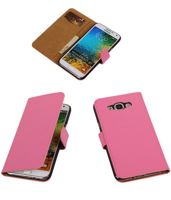 Roze Effen Bookcover Hoesje Samsung Galaxy E5
