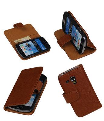 BestCases Bruin Echt Leer Booktype Hoesje voor Samsung Galaxy S Duos S7562