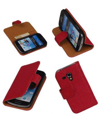 BestCases Fuchsia Echt Leer Booktype Hoesje voor Samsung Galaxy Trend S7560