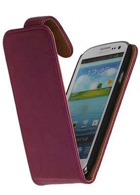 BestCases Luxe Kreukelleer Flipcase Hoesje voor Samsung Galaxy Express Paars