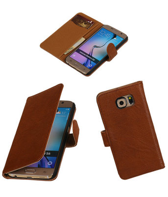 Echt Leer Bookcase Bruin - Hoesje voor Samsung Galaxy E7