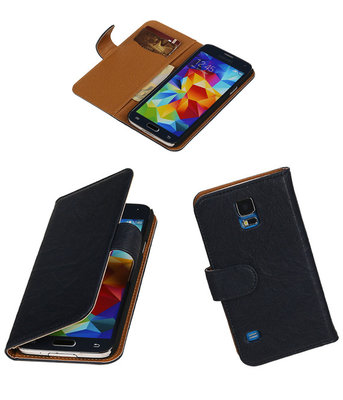 Echt Leer Bookcase Donker Blauw - Samsung Galaxy S5