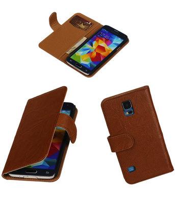 Echt Leer Bookcase Bruin - Samsung Galaxy S5