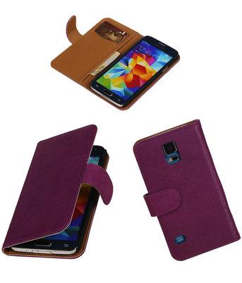 Echt Leer Bookcase Paars - Samsung Galaxy S5