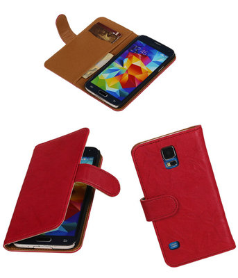 Echt Leer Bookcase Roze - Samsung Galaxy S5