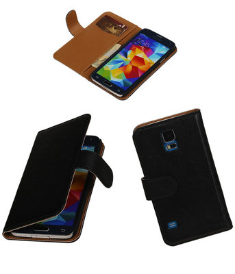 Echt Leer Bookcase Zwart - Samsung Galaxy S5