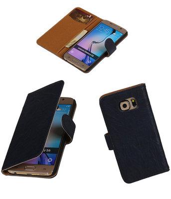 Echt Leer Bookcase Donker Blauw - Hoesje voor Samsung Galaxy S6