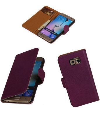 Echt Leer Bookcase Paars - Hoesje voor Samsung Galaxy S6