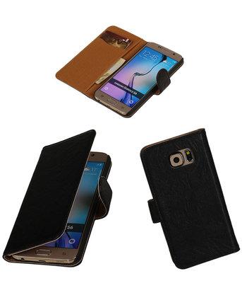 Echt Leer Bookcase Zwart - Hoesje voor Samsung Galaxy S6