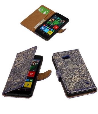 Hoesje voor Microsoft Lumia 640 Lace Booktype Wallet Blauw