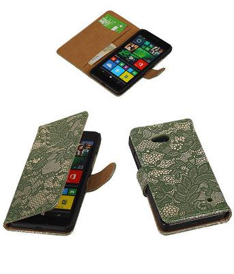 Hoesje voor Microsoft Lumia 640 Lace Booktype Wallet Donker Groen